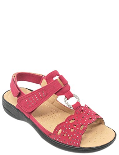 Cutwork Ladies Diamante Sandal Cushion Red Walk qtzpnv1