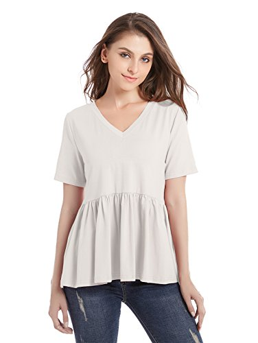 ZURIFFE Women's Summer V Neck Short Sleeve Cotton Loose T Shirts Ruffle Babydoll Peplum Swing Top Tees (L, White)