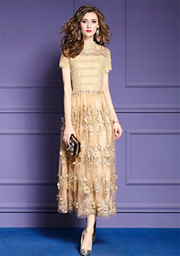 Embroidery Dress Solid Gown Women`S Color Beige cotyledon Long Dresses qaXTv6R
