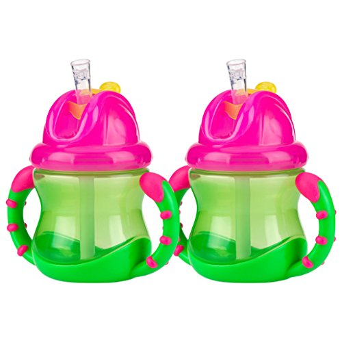 Nuby 2 Handle Flip n' Sip Straw Cup, 8 Ounce, 12 Months +, 2 Count - ()