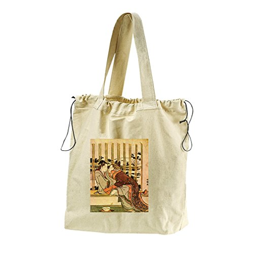Couples (Hokusai) Canvas Drawstring Beach Tote Bag by Style in Print