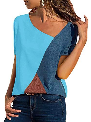 - Yidarton Women's Summer Tee Shirts Short Sleeve Shirts Patchwork V-Neck Casual Tunic Tops Blouse Basic Color Block T Shirt(Blue, Large)