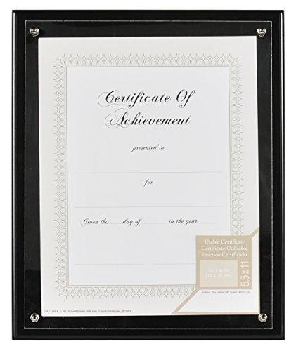Gallery Solutions 8.5x11 Black Plaque Document (Black Award Plaque)