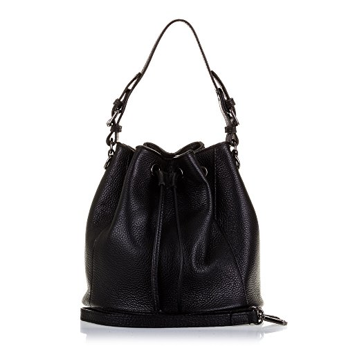 Genuino bolso Acabado In Pelle Italia Realizzato Vera Piel Piel bolso Dollaro Spalla Con Cierre Cordón Pelle Italy Auténtica Artegiani Made Finiture Dollaro Firenze Mujer De Nero Negro Colore Coulisse Chiusura Hombro Donna Color Cm A Italiana 25x25x25 Cuero qYTzcwv