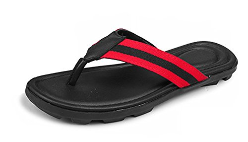 Flip Fashion Thong Shoes Toe Sandy Aisun Sandals Flat Slip Striped Red Non Beach Mens Flops Clip qwwx6v8S5