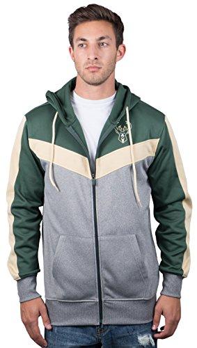 (Milwaukee Bucks Men's Full Zip Hoodie Sweatshirt Jacket Back Cut, Small, Hunter)