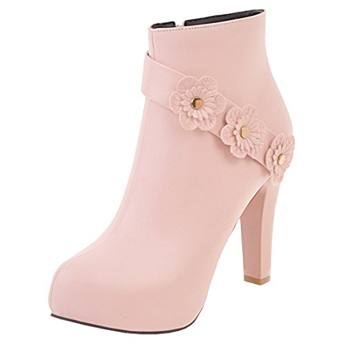 Artfaerie Women's Faux Fur Lined Winter Warm Ankle Boots Fashion Shoes with Flowers Pink