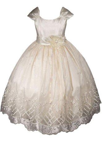 AMJ Dresses Inc Big Girls' Ivory Flower Girl Pageant Dress Size 8