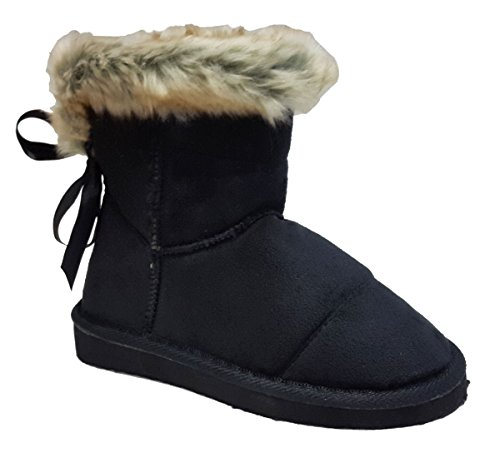 Comfncy Elegant Girls Faux Suede Black Ankle Flat Boots with Faux Fur Trim 2, M US Little Kid