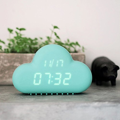 HILTOW Cute Cloud Alarm Clock,Creative Voice/Sound Control Led Clock for Students Kids Boys Girls with Time and Temperature,Rechargeable Always Display/Energy Saving Mode,Decoration Wall Clock,Blue by Hiltow