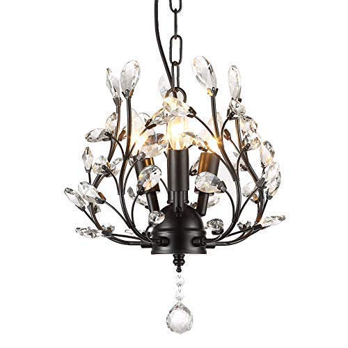 SEOL-LIGHT Farmhouse Crystal Branch Chandelier Pendant Hanging Lighting Fixture Small Size Flush Mount 120W with 3 Socket Black for Bedroom,Foyer,Kitchen,Dining Room - Chandelier Pendant Orb
