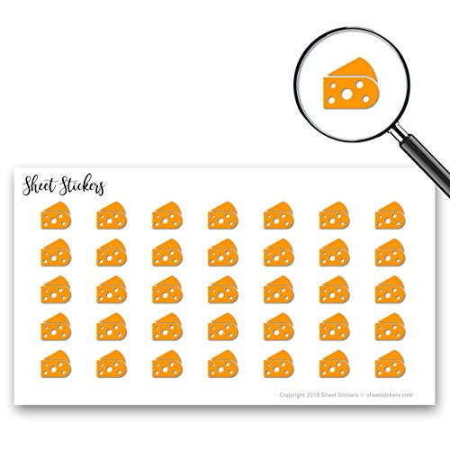 Cheese Dairy Food Eat, Sticker Sheet 88 Bullet Stickers for Journal Planner Scrapbooks Bujo and Crafts, Item 559581