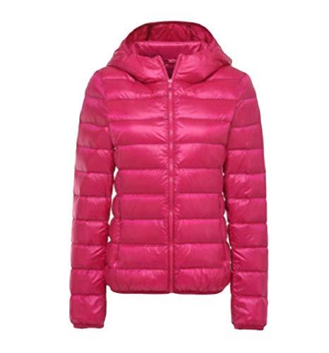 Zipper Rkbaoye Jacket Leggero Down Rose Womens Hooded Solid Packable Curvy Red wCHPCgqx
