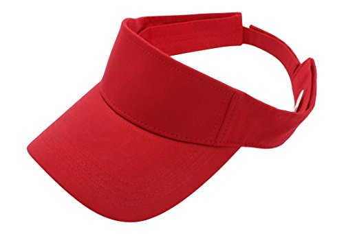 Top Level Sun Sports Visor Men Women - 100% Cotton One Size Cap Hat, RED