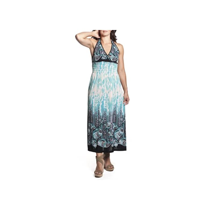 64923d887e2 ... Dresses 2 Women s Tie-Neck Halter Maxi Dress Full-Length Sundress  Tropical Leaf Print.   