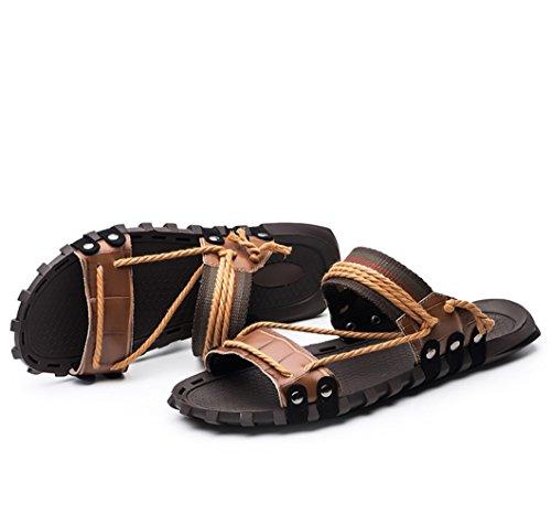 Sandalen Herren Sandalen Sommer Sandalen Mode Wort Hausschuhe UK Sandalen 1 und Leder Neue 2018 Braun Herren Strand HausschuheZHANGM LIANGXIE wPxqX7Rt