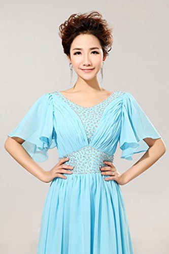 Buble lang Abendkleider Heart Beauty Emily Sleeve Blau Kleid Sweat Chiffon 5XwT48qxT