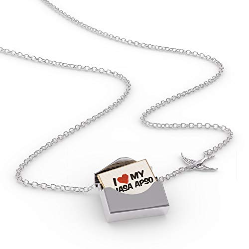 NEONBLOND Locket Necklace I Love My Lhasa Apso Dog from Tibet in a Silver ()