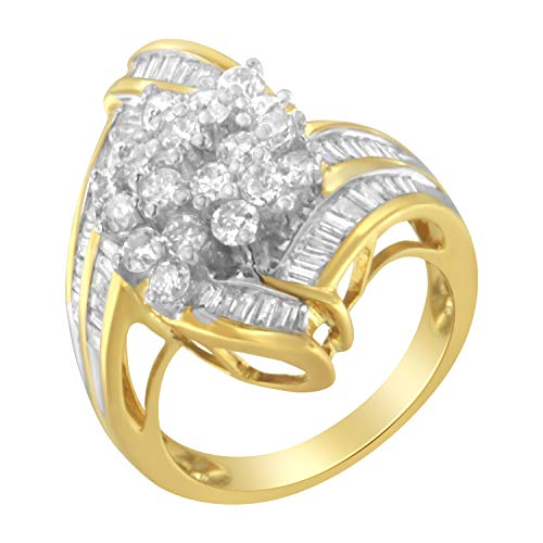 10K Yellow Gold Round and Baguette Diamond Swirl Ring (2.0 cttw, J-K Color, I2 Clarity) Baguette Diamond Swirl Ring