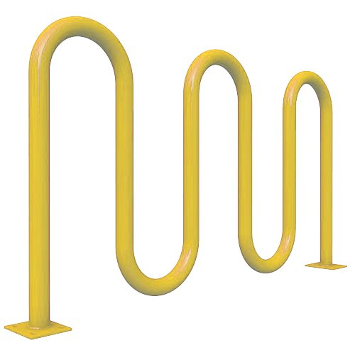 "Kay Park Recreation 615CSM-YLW 5 Loop Surface Mount Loop Style Bike Rack, 7 Spaces, 1 5/8"" OD Schedule 40 Pipe, 71"", 71"" Length, Powder Coated, Yellow"