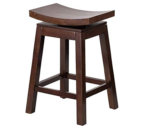 Deluxe Premium Collection 26'' High Saddle Seat Cappuccino Wood Counter Height Stool with Auto Swivel Seat Return Decor Comfy Living Furniture