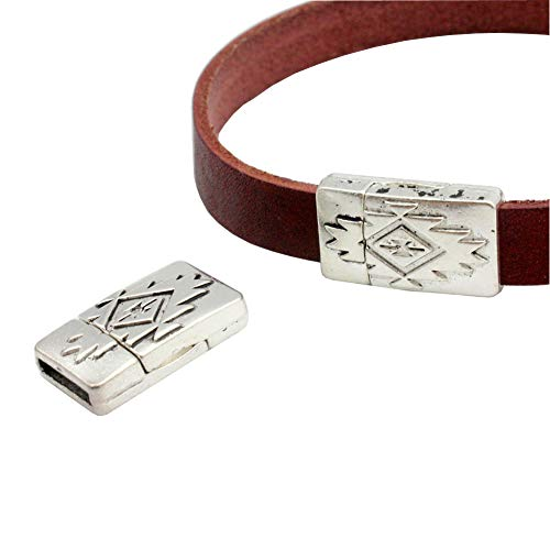 (AaaZee Pack 5 Bracelet Clasp and Closure Magnetic end for Leather Jewelry Making 10mmx2mm Hole Antique Silver)