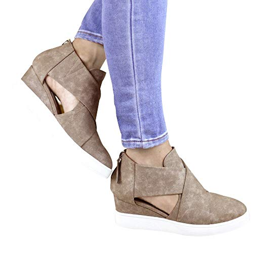 Scrub Flat Mid Pumps Winter Khaki Boots Increased Vintage Wedges Zip Ankle Heel Shoes Classic HLHN Women Casual Leather zZ1qw005