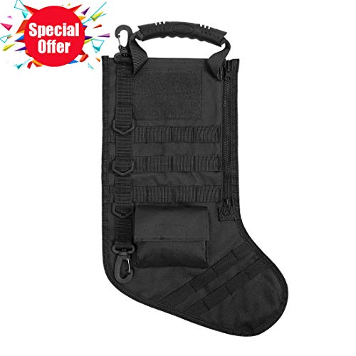 AIRSOFTPEAK Tactical Pouch Molle Christmas Stocking Bag Design Military Ammo Bullet EDC Pouch Dump Drop Magazine Storage Bag, Big, Black