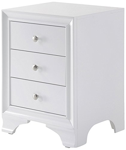 Major-Q Contemporary Nightstand with 3 Drawers and USB Dock White Finish (MQ-97500)