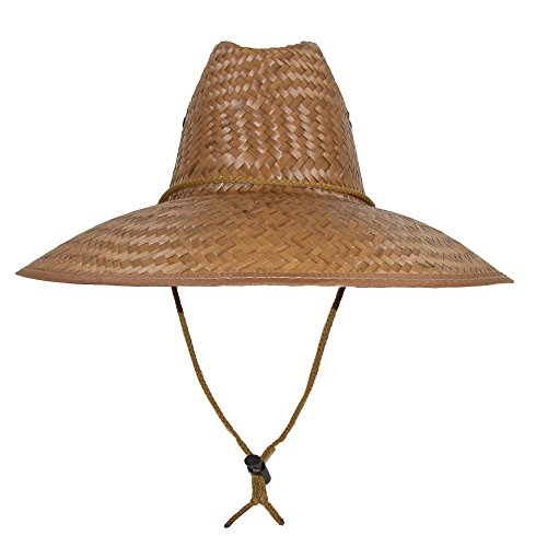 CTM Palm Straw Lifeguard Hat with Wide Brim, Natural Beige
