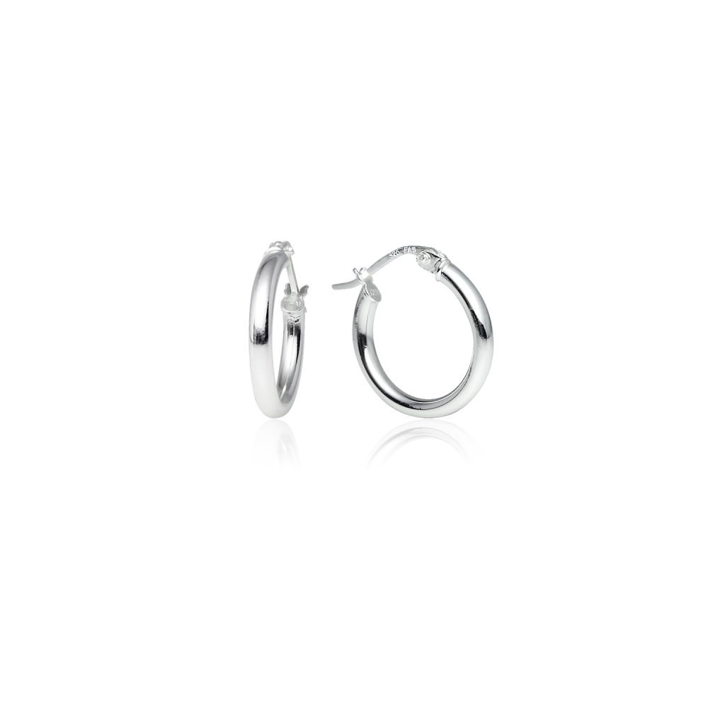 LOVVE Sterling Silver High Polished Round-Tube Click-Top Hoop Earrings, 2x15mm