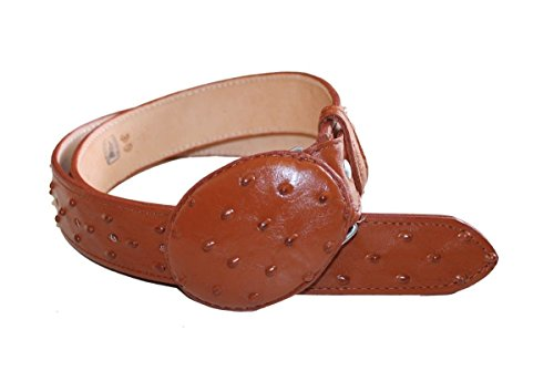 Ostrich Embossed Belt (LEATHER BELT OSTRICH DESIGN EMBOSSED GENUINE LEATHER)