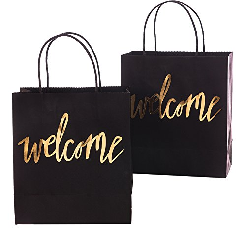 Ling's moment Set of 25 Black Gold Welcome Bags for Wedding Party Gift Bags for Hotel Guests, Weekend Destination Wedding Favors -