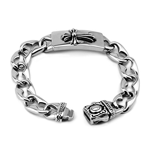 Three Keys Jewelry Stainless Steel Celtic Medieval Gothic Cross Cuba Curb Chain Silver Black Polish Bracelet with Safe Square Latch