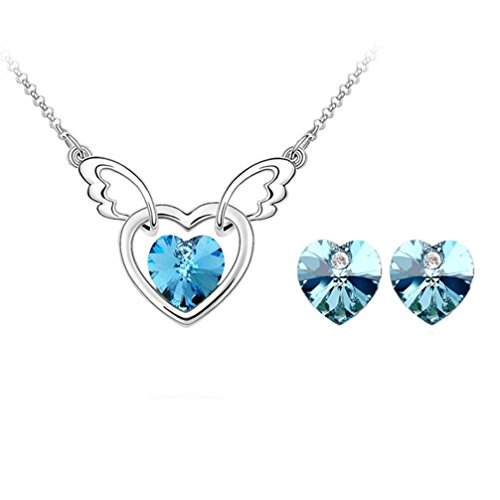 (Gift for Girls Angle Wing with Heart Swarovski Elements Crystal Pendant Necklace Stud Earrings Set Fashion Jewelry for Women (Blue))