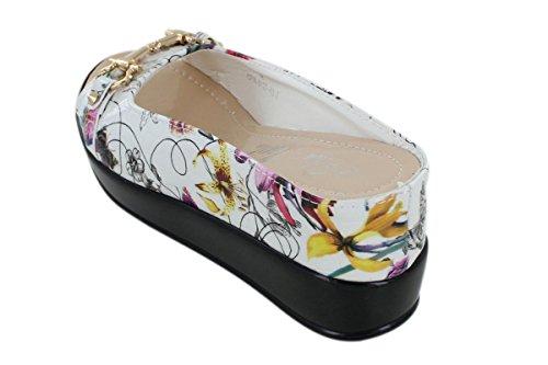 Floral Top 6 Textured Leather Crocodile Women's Size 8127 40 Bit with Sandal Slide Hidden Wedge zxz76