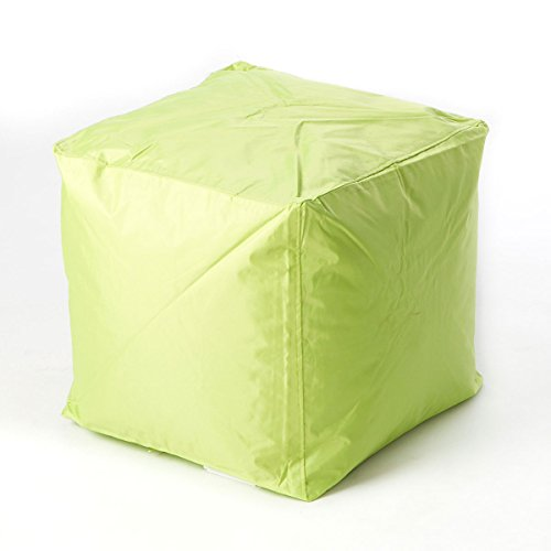 Bean Bag Cube Ottoman Footstool (Green) | | Nylon Fabric - Hand Filled in the USA | 16 x 16 x 16 inches | (Fabric Footstool Ottoman)
