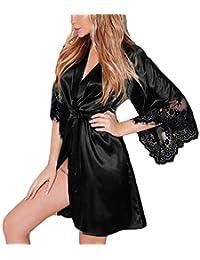 YKARITIANNA Women Sexy Solid Teddy Silk Kimono Dressing Babydoll Lace Lingerie Belt Bath Robe Nightwear