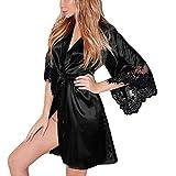 AMSKY Women Lingerie Plus Size Clearance,Women Sexy Silk Kimono Dressing Babydoll Lace Lingerie Belt Bath Robe Nightwear,Thermal Underwear,Black,XL