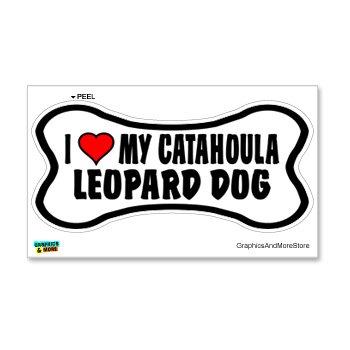 Catahoula Leopard Dog Love My Dog Bone - Window Bumper Locker Sticker