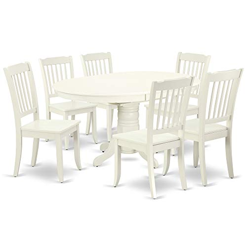 (East West Furniture AVDA7-LWH-W 7PC Oval 42/60 inch Table with 18 in Leaf and 6 Vertical slatted Chairs, Linen White)