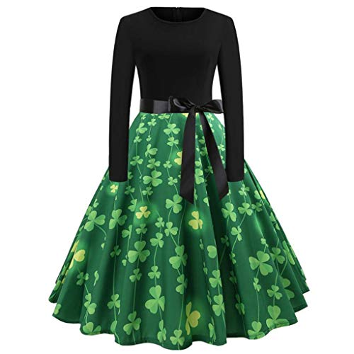 Haluoo Women's Vintage St. Patrick's Day Dress, Ladies Long Sleeve O Neck Clover Print Dress Fit and Flare Swing Cocktail Dresses (Medium, Green)