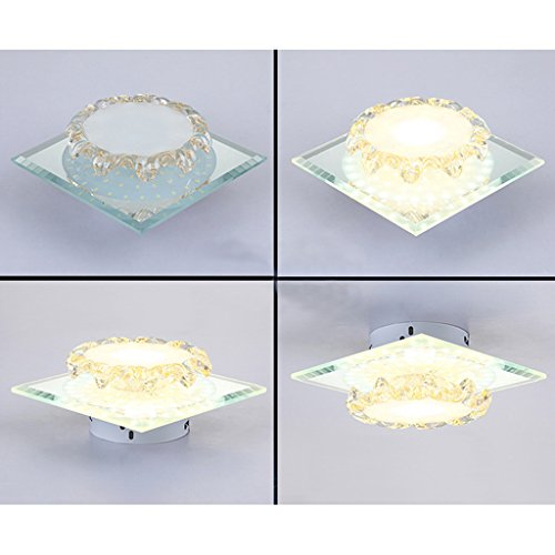 Wotefusi Home New Luxury Modern LED Crystal Ceiling Light Lamp Corridor Dinning Bedroom Porch Lighting Cloak Room(Surface Mounted Square) by Wotefusi (Image #4)