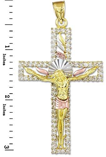 10 ct 471/1000 Trois Couleurs Or Oxyde de Zirconium Crucifix Pendentif