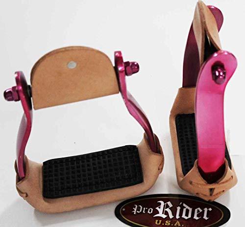 PRORIDER Western Show Horse Saddle Stirrups Barrel Racing Aluminum Pink Leather 5160