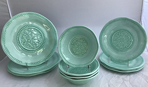 Il Mulino Mint Green Heavyweight Round Spanish Hobnail Medallion Dinner Plates, Salad Plates, Bowls Dinnerware Set 12-Piece Set (Service for four)