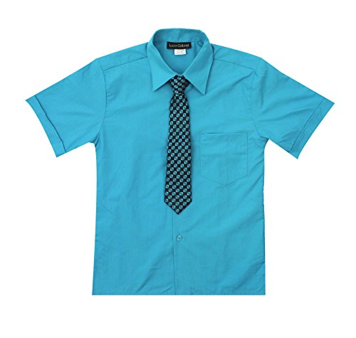 (Luca Gabriel Toddler Boy's Short Sleeve Formal Button Down Dress Shirt & Tie Set - Turquoise 2t )