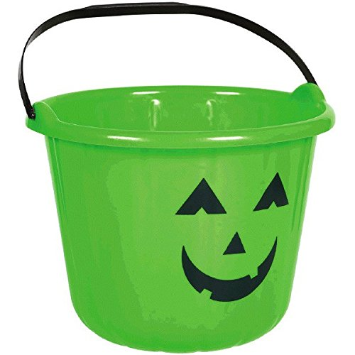 Amscan Sweet Treats Halloween Pumpkin Bucket, Green, 6
