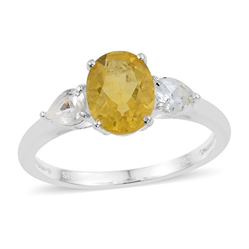 Fluorite Ring Yellow (925 Sterling Silver 2.3 Cttw Oval Yellow Fluorite, White Topaz 3 Stone Fashion Ring For Women Size 9)
