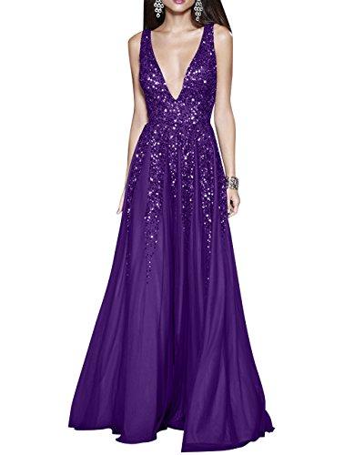 Partykleider Damen Sommer Festlichkleider Ausschnitt Abendkleider mia Dunkel Violett Chiffon V Linie A La Ballkleider Brau Tief Rock nfpvwqg8Pg
